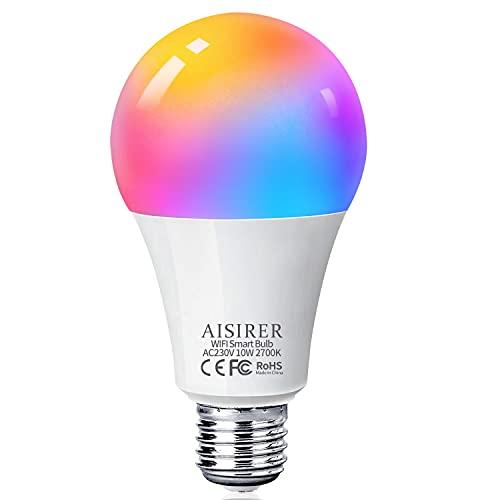 Bombilla LED Inteligente WiFi, AISIRER 10W 1000LM E27 Lámpara, WiFi Bombilla Luces Cálidas/Frías & RGB Funciona con Alexa (Echo, Echo Dot) Google Home, 16 Millones de Colores, Equivalente 90 W, 1 Pack