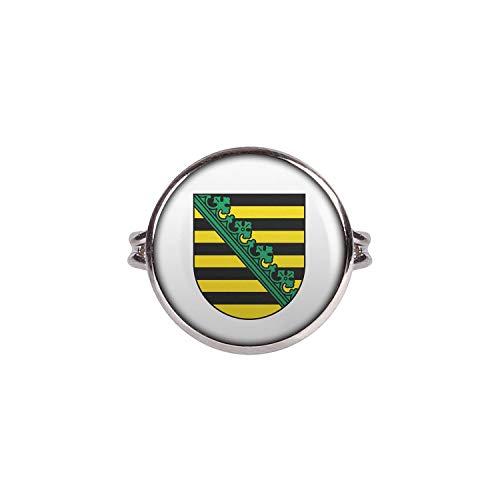 Mylery Ring mit Motiv Bundes-Land Flagge Sachsen Silber 16mm