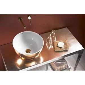 LAVABO SOBRE ENCIMERA BATHCO DE ACERO ESMALTADO BLANCO Y ROSE GOLD MOGRO MEDIDAS: 370×180