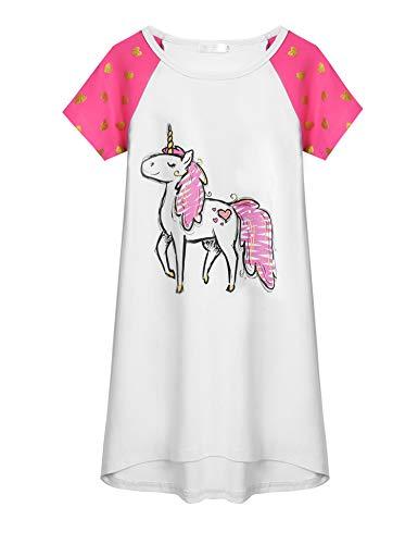 Arshiner Mädchen Unicorn Printed Nachthemd Kurzarm Baumwolle Schlafanzug Kleider Nachtwäsche Kinder Sommer Prinzessin Nightdress Nachtkleider Weiß 120
