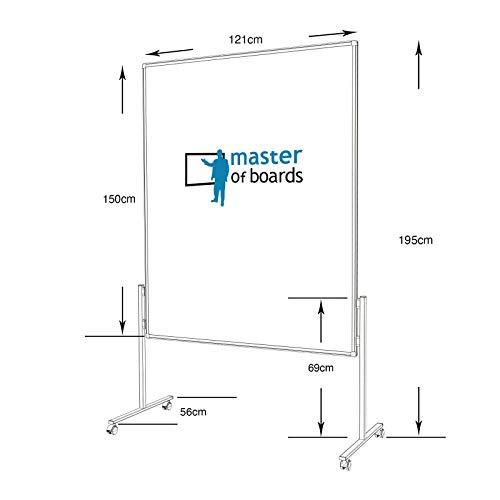Moderationstafel Filz | doppelseitig | mit Rollen | Höhe: 185 cm | Farbe wählbar (grau) - 5