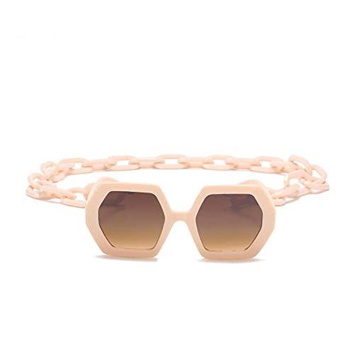 Beizi Gafas de Sol Moda Mujer Hombre Sombras Gafas de Sol cuadradas con Cadena Grande Negro Amarillo Gafas GreyTea