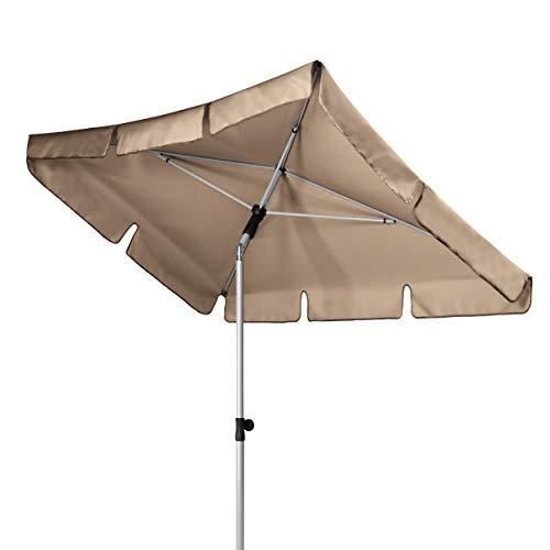 Doppler Active – Rechteckiger Sonnenschirm für Balkon und Terrasse – Knickbar – 180x120 cm – Greige