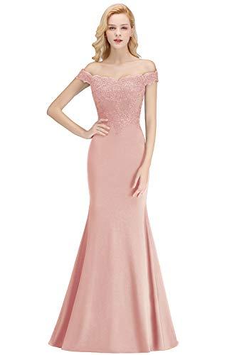 MisShow Damen Elegant Shulterfrei Meerjungfrau Abendkleid Ballkleid Spitzen Kleid mit Blumenstickerei lang Nude Rosa 34
