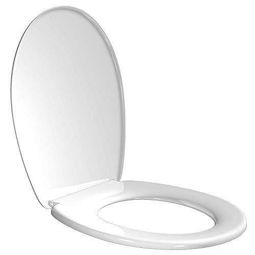 Tapa Wc Universal, Asiento Inodoro Taza Water Blanco de Plástico Fácil Instalación Fijación Ajustable Forma De O 45x36.5x5.2 Cm Estable Duradera Comodidad Asegurada