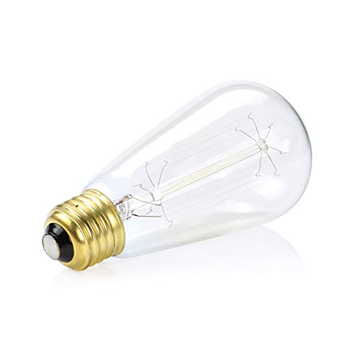 Dimmable Vintage 60 Watt Edison Light Bulb, Amber Warm Glow, Clear Glass Squirrel Cage Filament Light Bulb, E26 Medium Base, Pack of 4
