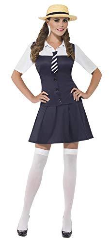 Smiffys, 31105L Damen Schulmädchen Kostüm, Kleid mit angesetztem Hemd, Schlips und Strohhut, Größe: L, 31105