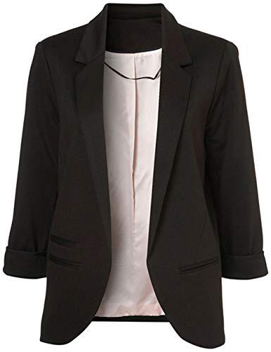 Lrady Women's Fashion Casual Rolled Up 3/4 Sleeve Slim Office Blazer Jacket Suits, Black, M