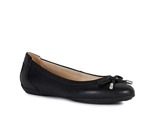 Geox D Charlene dames ballerina schoenen van zwart leer D02Y7B-000HH-C9999