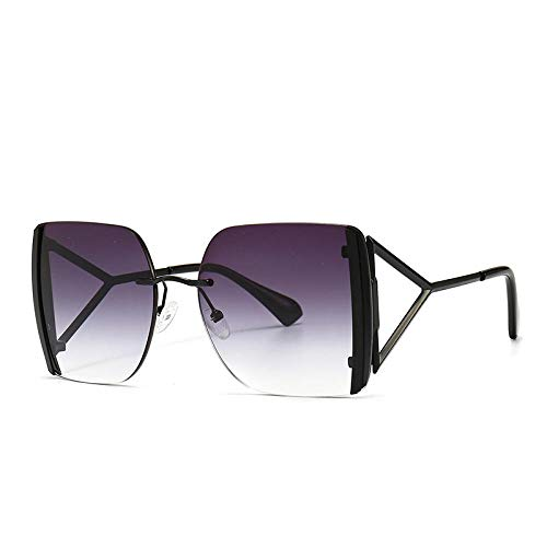 U/N Square Rimless Luxury Sunglasses Men Women Fashion Shades Vintage Glasses-2