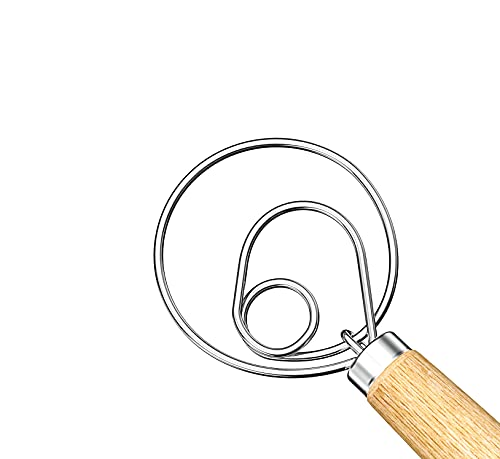 Danish Dough Whisk, Acerich 13Inch Stainless Steel Danish Whisk Hook Dutch Bread Whisk Wooden Handle Mixer Baking Tools for Bread, Cake, Dessert, Cookie, Dumpling Pizza Dough Making