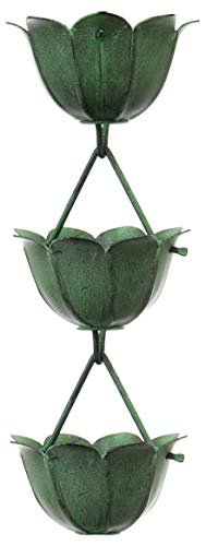 "Monarch Rain Chains 18222 Aluminum Lotus Rain Chain, 8-1/2 Feet Length Pow, Cup Size: 4. 5"" Diameter x 2. 25""(H) Cup Bottom Opening: 0. 75"" 20 Cups, Green Patina Powder Coated"