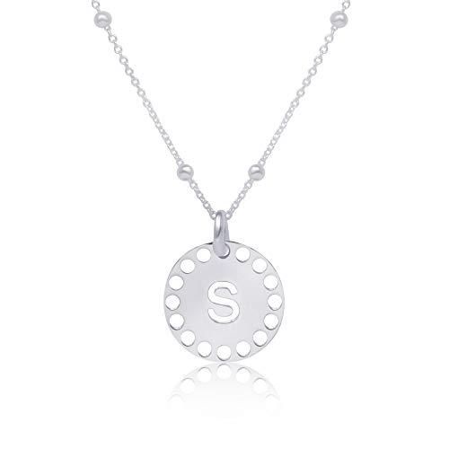 WANDA PLATA Collar Inicial (S) para Mujer Plata de Ley 925, Alfabeto A-Z, Colgantes Letras, Personalizado