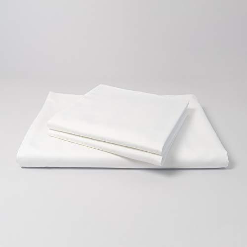 cloudlinen Bettwäsche Set aus 100% Extra-Langstapeliger Premium Baumwolle - 240x220 cm (Bettbezug) + 2 * 80x80 cm (Kissen) - weiß einfarbig/unifarben - kuscheliger, Warmer und weicher Mako Satin