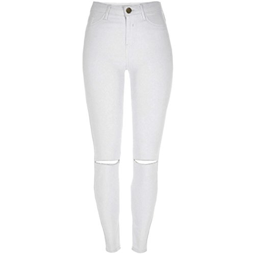 Nieuwe dames skinny hoge taille stretch enkel jeans Jeggings in zwart of wit maat 6-16 (UK14 / EU42, wit uitgesneden)