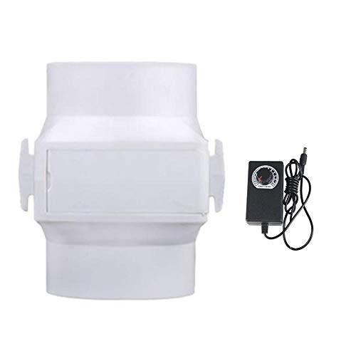Extractor en Línea con Ventilador de Conductos Silenciosos 100 mm con Controlador de Velocidad Variable, Ventilador Extractor de Baño Puede Funcionar Continuamente, 12V, 13W,Adjustable