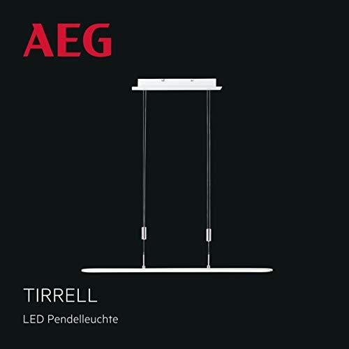 Tirrell LED Pendelleuchte Ø100cm in sand weiß/chrom, stufenlos dimmbar über Wanddimmer, 36 Watt, 3200 Lumen, 3000 Kelvin