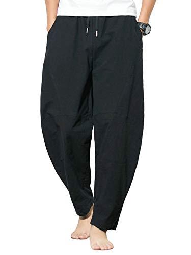 Colisha Men's Cotton-Linen Harem Trousers Casual Drawstring Wide Leg Baggy Jogging Pants...
