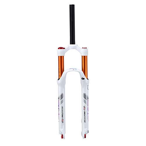 Bicicleta Horquilla de Suspensión MTB Horquillas Delanteras 26' 27.5 Pulgadas Aleación, Amortiguación Ajustable Sistema de Aire Absorción Efectiva Viajar: 120mm (Color : White, Size : 26 Inches)