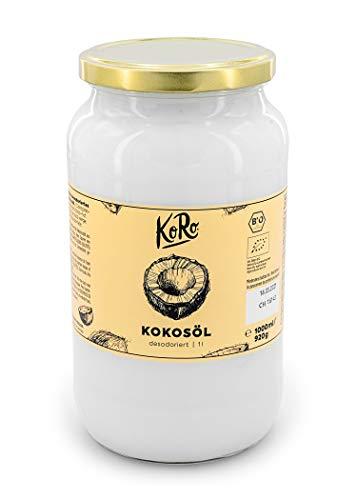 KoRo - Bio Kokosöl desodoriert 1 L - Unraffiniert und ohne Zusatzstoffe - Extrem hitzebeständig und ideal zum Braten und Backen