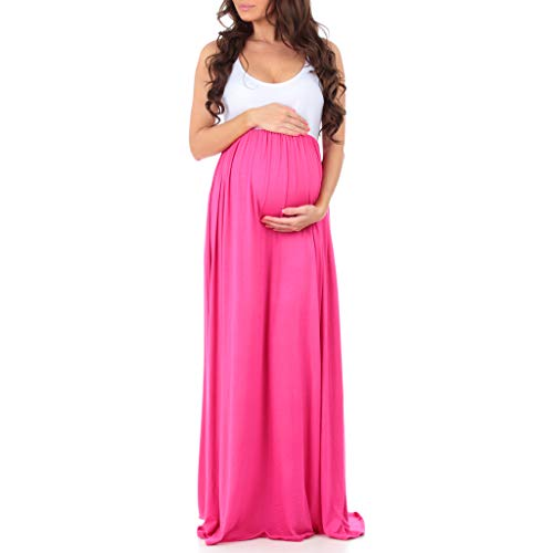 Sleeveless Ruched Color Block Maxi Maternity Dress