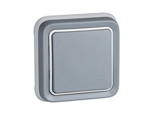 Legrand, 191510 Plexo - Interruptor de pared, pulsador estanco de superficie de la gama Plexo, interruptor exterior, resistente al agua (IP55), color gris