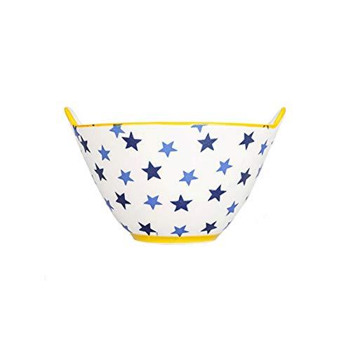 YUZZZKUNHCZ Cuenco de cerámica para arroz, cuenco de fideos, 18 x 11,4 cm, cuenco de sopa para el hogar, tazón de gran capacidad, doble oreja, no caliente, apto para lavavajillas y horno de microondas