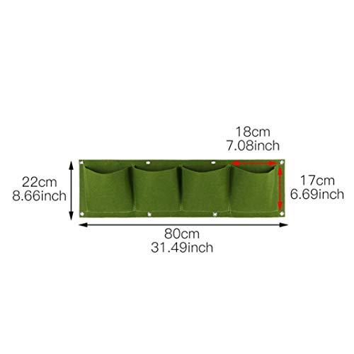 Mothcattl 4/6/9/12 Tasche, Wandmontage, Filz, Vliesstoff, grün, für Garten Balkon Blumentöpfe, 4 Pockets