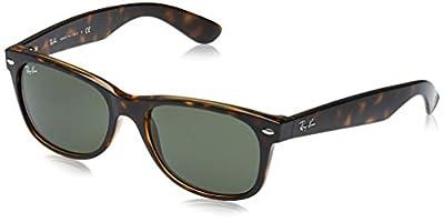 Ray-Ban RB2132 New Wayfarer Sunglasses, Tortoise/Green, 52 mm