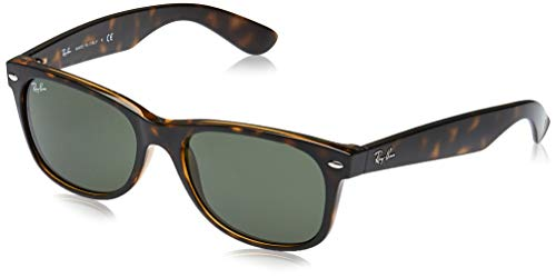 RAY-BAN RB2132 New Wayfarer Sunglasses, Tortoise/Green, 55 mm