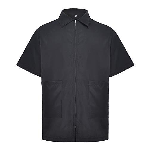 TopTie Chaqueta de nailon de manga corta, lavable a máquina, para hombre, color negro