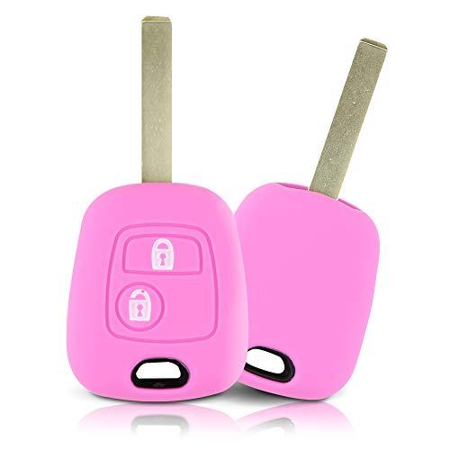 ASARAH Premium Silikon Schlüsselhülle geeignet für Peugeot, Schutzhülle Autoschlüssel Cover - Pink PE 2BK