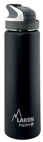 Laken Thermo Summit Stainless Steel Insulated Water Bottle, Sport Straw Cap w/Lock, Leakproof, 25oz, Black