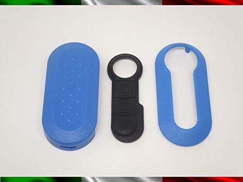 TOPBEST Coque de clé + boutons en caoutchouc compatible avec Fiat 500 Grande Punto Evo Bravo Panda 500L Lancia Y Ypsilon Musa Delta coque bleue