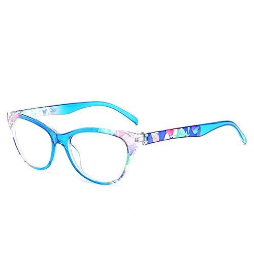 Yi-xir Gafas de lectura unisex ultraligeras de policarbonato con montura completa, de resina HD, perfectas clásicas (color: azul)