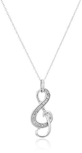 10k White Gold Diamond Music Note Pendant Necklace (1/10 cttw, I-J Color, I2-I3 Clarity), 18