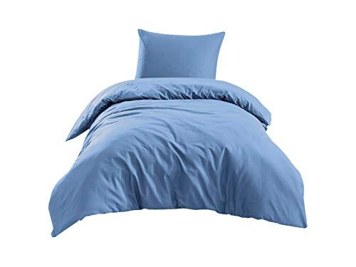 2 TLG Renforce Bettgarnitur Set | Bettdeckenbezug 135x200 cm | Kopfkissenbezug 80x80 cm | 2 teilig Bettwäsche | 100% Baumwolle Oeko-TEX | Bettbezug mit Reißverschluss | Uni Aqua Blau