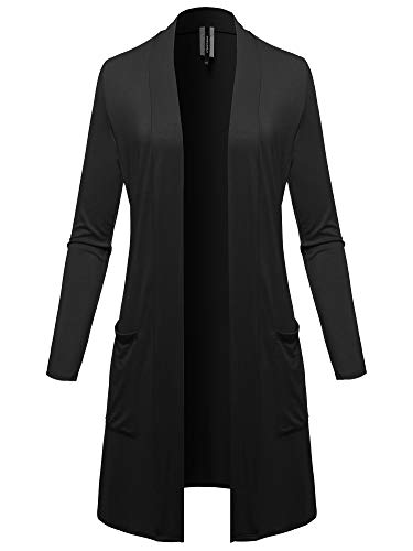 Solid Open Front Long-Line Thin Cardigan - Made in USA Black Size 2XL