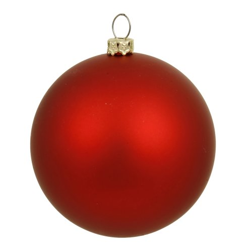 Vickerman Matte Finish Seamless Shatterproof Christmas Ball Ornament, UV Resistant with Drilled Cap, 6 per Bag, 4', Red