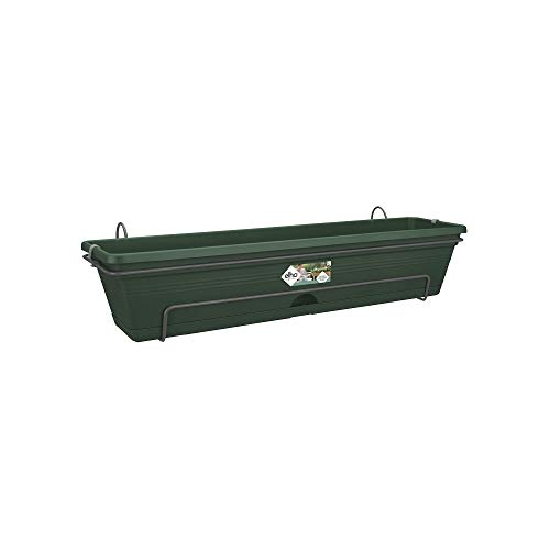 Elho Basics Trough allin1 70cm-Leaf Green Portavaso, 25.7x69.2x16.7 cm