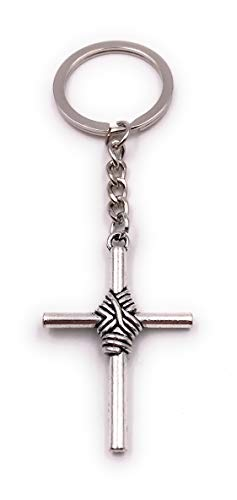 Onwomania sleutelhanger kruis met touw dauw geloof christendom zilveren bedeltje ketting sleutelhanger