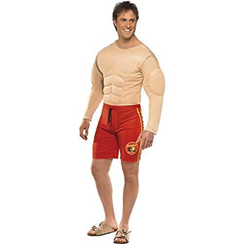 Smiffys-36584M Licenciado Oficialmente Disfraz de Vigilante de la Playa de Baywatch, con músculos en el Pecho y b, Color Rojo, M-Tamaño 38'-40' (Smiffy'S 36584M)