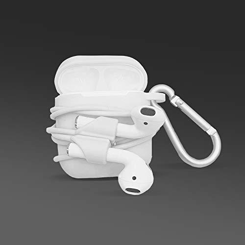 Cable Technologies Bundle per Airpods 1 & 2, Custodia per Airpods e Strap Anti smarrimento auricolari, Cinghia Cavo Elastico Apple Cuffie Wireless, Custodia con Moschettone per Sport, leggero