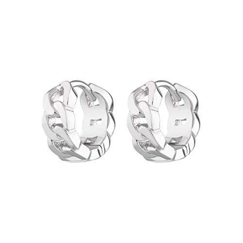 Scream Pretty - Sterling Silver Chain Reaction Huggie Hoop Earrings