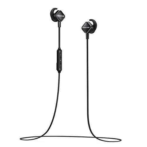 POWERADD Bluetooth Headphones Magnetic Wireless Earbuds for Sports Workout in-Ear Bluetooth Earphones with Built-in Mic (Bluetooth 4.1, Hands-free Calls, Secure Fit) - Black