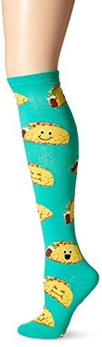K. Bell Women's Food & Drink Novelty Casual Knee High Socks, Happy Tacos (Teal), Shoe Size: 4-10