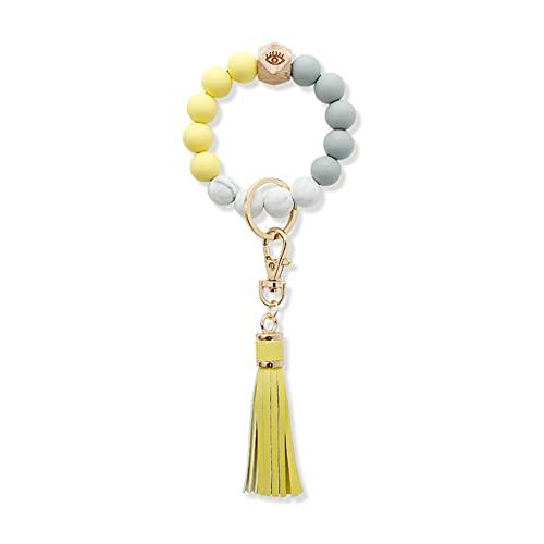 haowen Pulsera con llavero, llavero de silicona para mujer, brazalete moldeado, cadenas, borla, baratija, llavero de coche (Yellow)