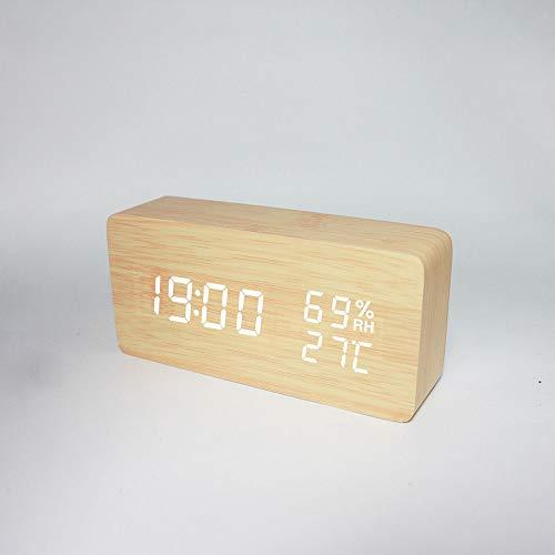 Kaper Go Temperatur Und Luftfeuchtigkeit Multifunktions Mute Wecker Led Holz Uhr Studenten Geschenk-elektronische Uhr 15 * 4.5 * 7cm (Color : White)