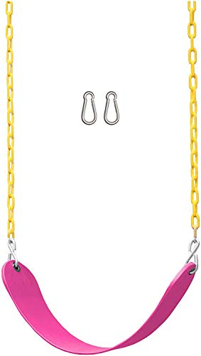 WXCC Swing Seat Heavy Duty 66' Chain Plastic Coated - Playground Swing Set Accessories Replacement for Kids Children Adult Outdoor Backyard Garden,Pink
