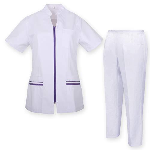 MISEMIYA - Abbigliamento di Lavoro Uniforme Medica con Camice e Pantaloni - Uniformi Mediche Camice Uniformi sanitarie - Ref.7028 - Large, Lilla